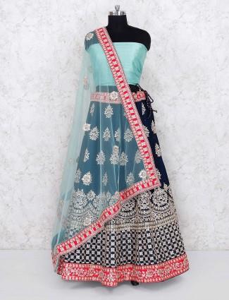 Raw silk fabric navy hued bridal semi stitched lehenga choli