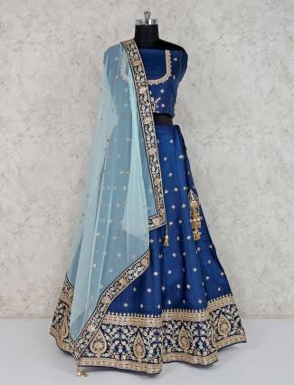 Raw silk navy semi stitched lehenga choli