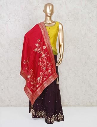 Raw silk solid yellow punjabi sharara suit
