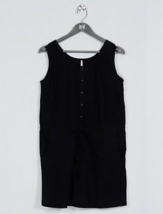 Recap black long casual t-shirt for women