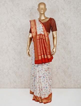 Reception wear white semi silk saree