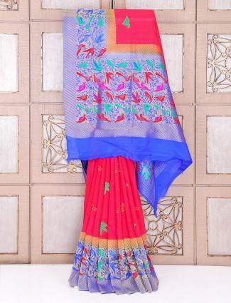 Magenta color art silk saree