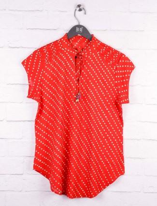 Red color cotton pretty top