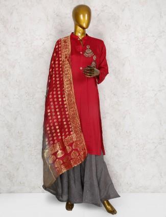 Red color cotton silk punjabi salwar suit
