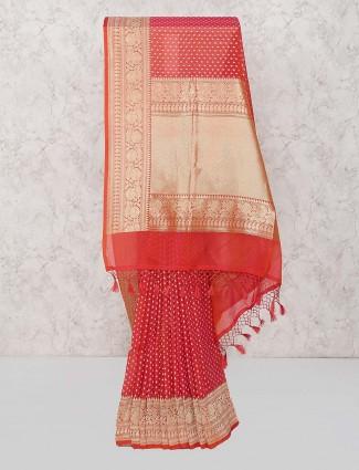 Red color wedding wear saree in semi silk