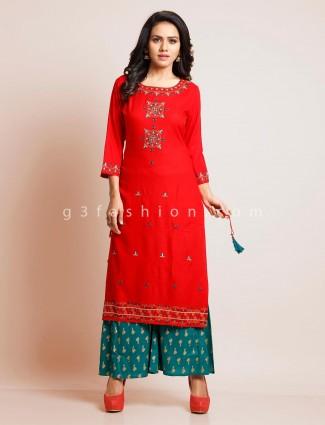Red cotton festive wear palazzo suit