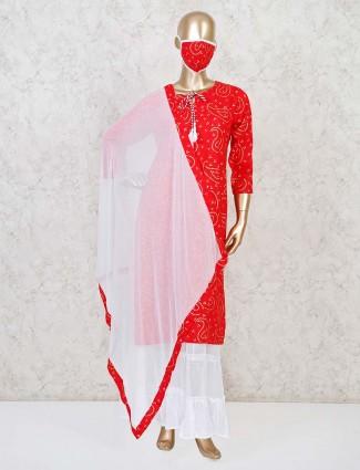 Red cotton round neck punjabi sharara suit
