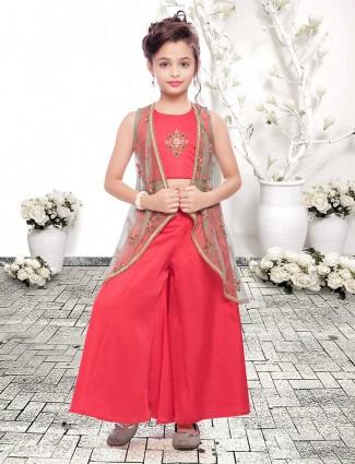 Red cotton silk festive jacket style palazzo set