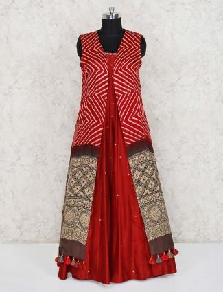 Red cotton silk jecket style designer indo western salwar suit