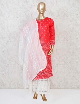 Red cotton silk printed punjabi sharara suit