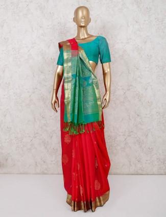 Red festive occassion saree in south pure silk