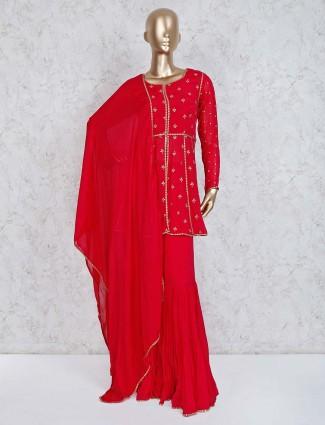 Red georgette designer punjabi sharara suit