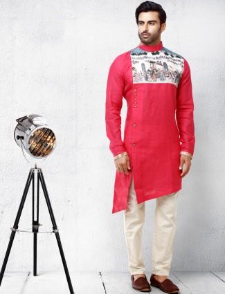 Red hue cotton silk festive wear kurta suit