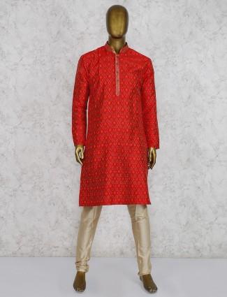 Red hue cotton silk printed wedding wear kurta suit