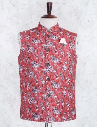 Red hue wedding wear printed waistcoat