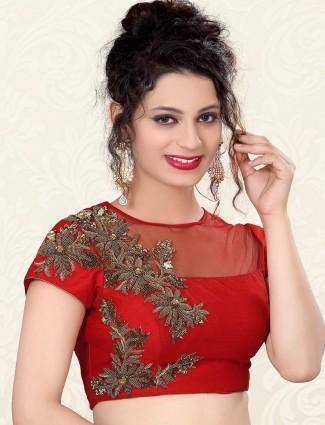 Red nice raw silk designer ready made blouse