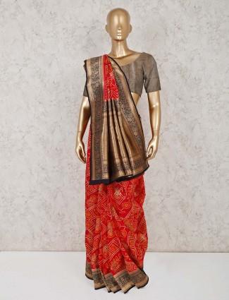 Red semi silk wedding ceremony saree