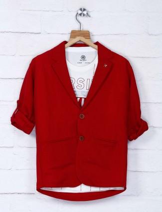 Red solid cotton fabric blazer