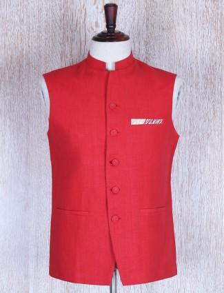 Red solid linen waistcoat