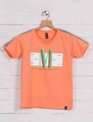 Red Sound peach cotton printed t-shirt