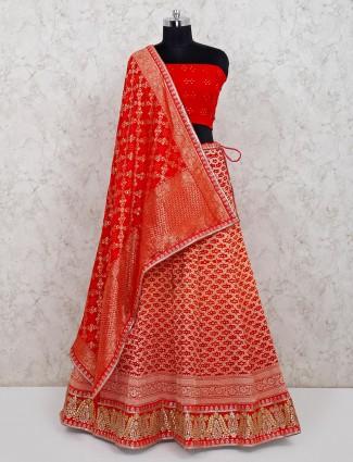 Red unstitched bandhej georgette wedding lehenga