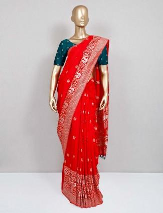Red wedding wear semi silk sari