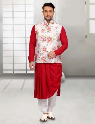 Red white designer waistcoat set