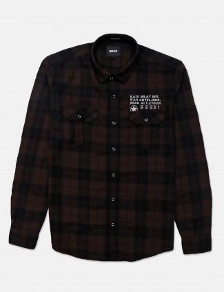Relay brown checks patch pocket shirt