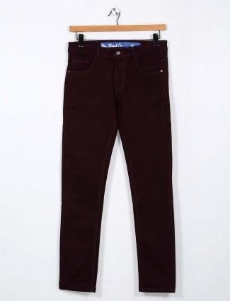 Rex Straut solid maroon slim fit jeans