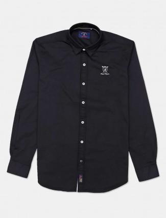 River Blue black cotton solid casual shirt