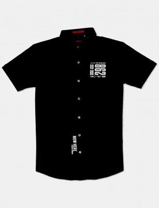 River Blue black printed casual shirt