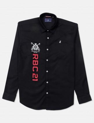 River Blue black printed mens shirt