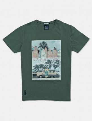 River Blue cotton green printed t-shirt