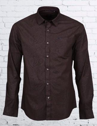 River blue cotton printed brown shirt