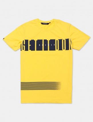 River Blue cotton yellow printed t-shirt