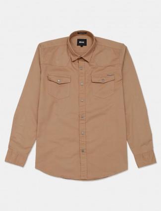 Relay khaki solid cotton shirt
