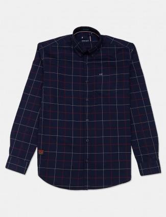 River Blue latest navy checks cotton shirt