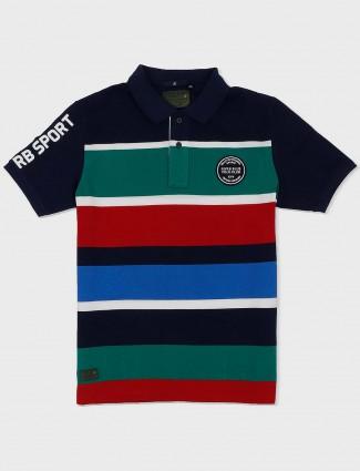 River Blue navy hue stripe slim fit t-shirt