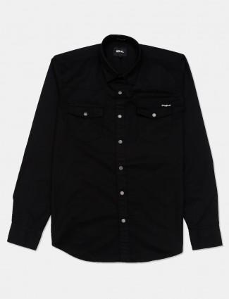Relay solid black slim collar shirt