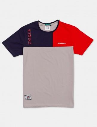 River Blue solid grey cotton t-shirt