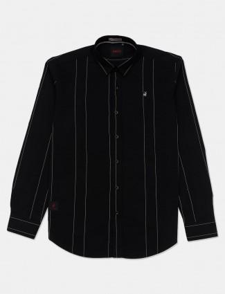 River Blue stripe black casual wear shirt