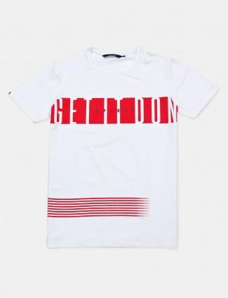 River Blue white printed round neck cotton t-shirt