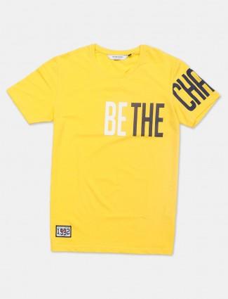 River Blue yellow printed cotton t-shirt