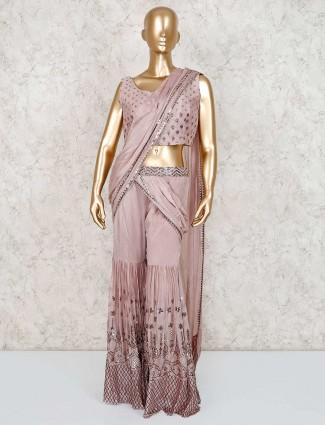 Rose pink georgette designer indo western sharara suit