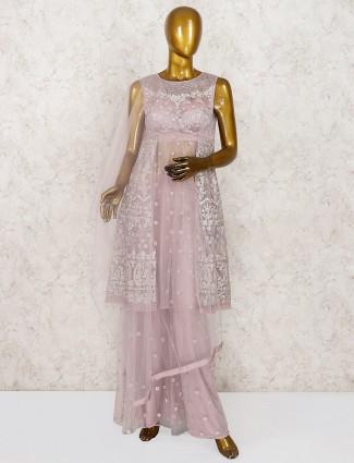 Rose pink net fabric party punjabi palazzo suit