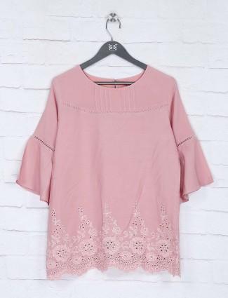 Round neck pink color cotton top