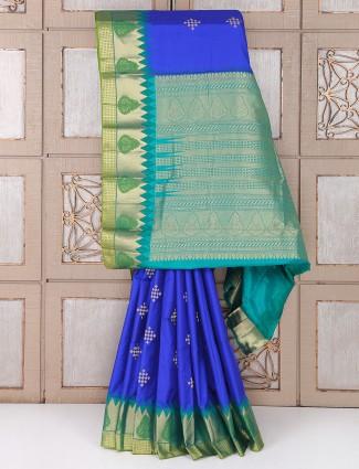 Royal Blue color silk saree for festive