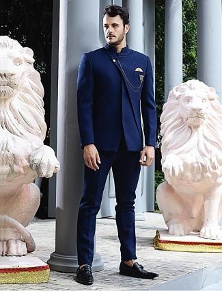 Royal blue designer terry rayon solid jodhpuri suit