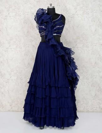 Royal blue georgette lehenga choli for party