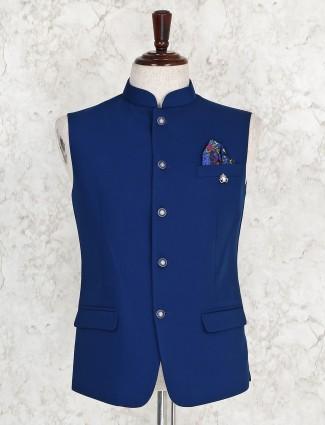 Royal blue hue solid terry rayon waistcoat